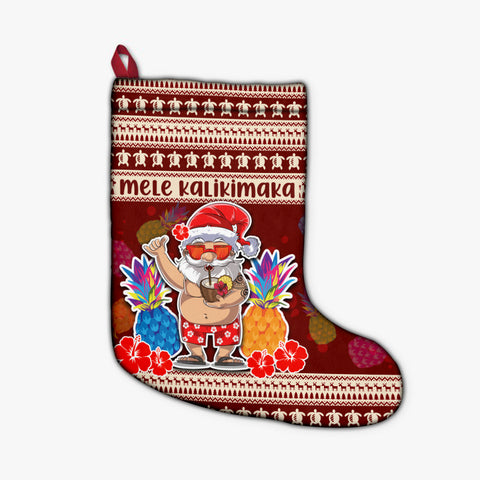 Image of Hawaii Santa Claus Pineapple Pattern Stocking - Dry Style - AH - J4