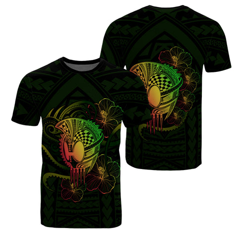 Image of Hawaii Warrior Hibiscus Polynesian T-shirt - Flo Style - AH - JA