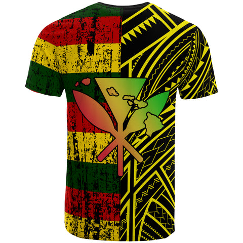 Hawaii Kanaka Flag Polynesian T-Shirt - Bright Style - AH - JA