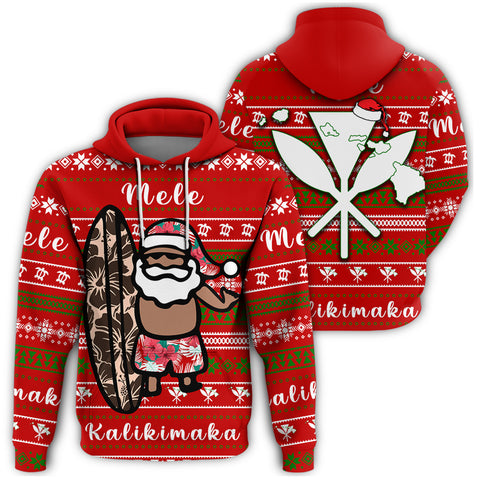 Image of Hawaii Christmas Santa Claus Surf Hoodie - Fun Style