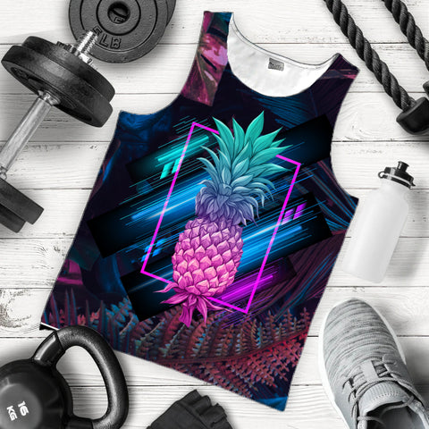 Hawaii Pineapple Kanaka Map Tropical Men's Tank Top - Pub Style - AH - JA
