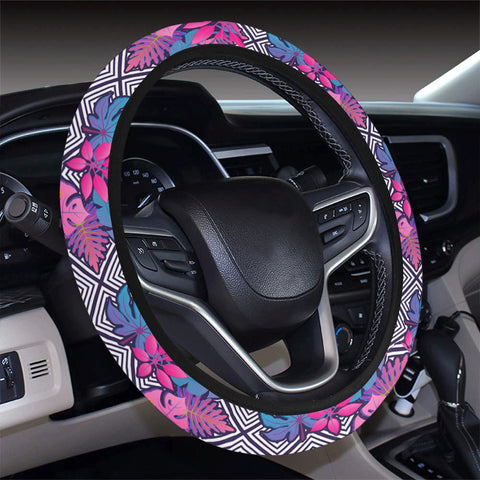 Tropical Exotic Leaves And Flowers On Geometrical Ornament. Hawaii Universal Steering Wheel Cover with Elastic Edge - AH - J6 - Alohawaii