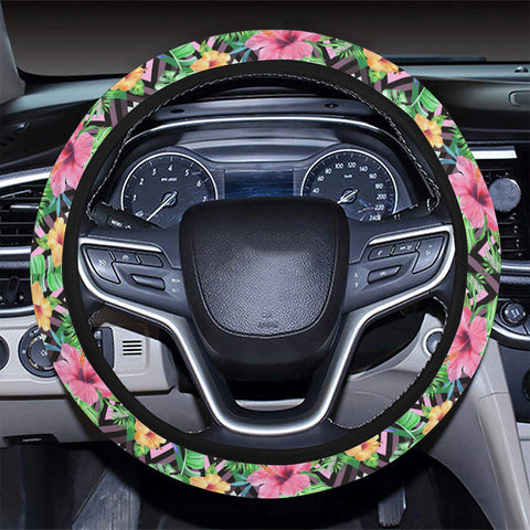 Tropical Hibiscus Banana Leafs Hawaii Universal Steering Wheel Cover with Elastic Edge - AH - J6 - Alohawaii
