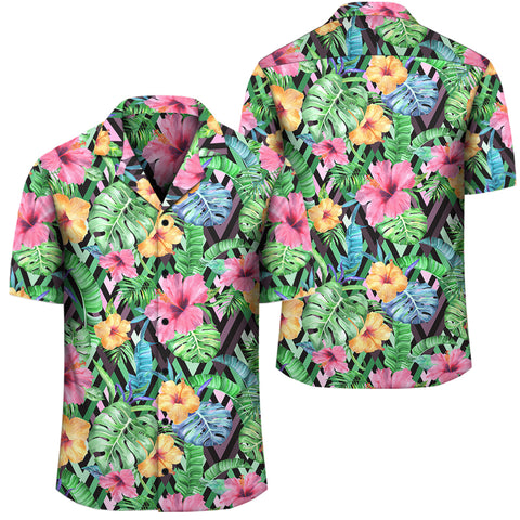Tropical Hibiscus Banana Leafs Hawaiian Shirt - AH - J1 - Alohawaii