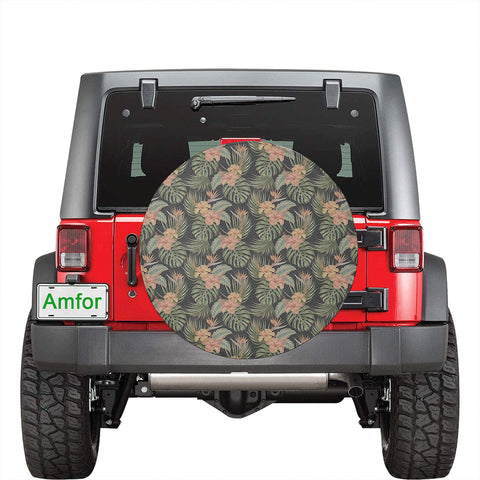 Tropical Hibiscus Monstera Leaf Hawaii Spare Tire Cover - AH - J4 - Alohawaii