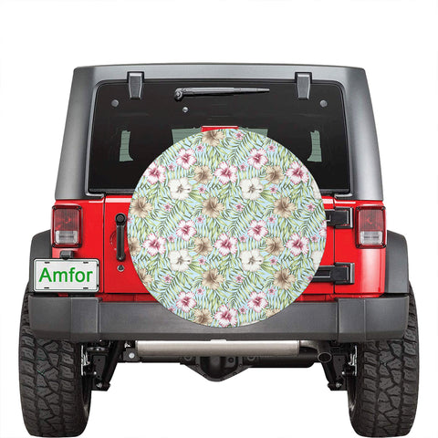Tropical Hibiscus Palm Leaves Hawaii Spare Tire Cover - AH - J4 - Alohawaii