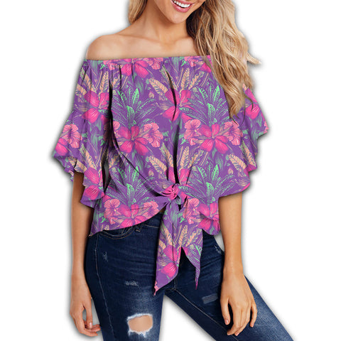 Tropical Hibiscus Purple Women's Off Shoulder Wrap Waist Top - AH - J4