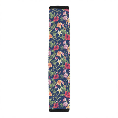 Image of Tropical Hibiscus Red And Plumeria White Hawaii Car Belt Pads - AH - J4 - Alohawaii