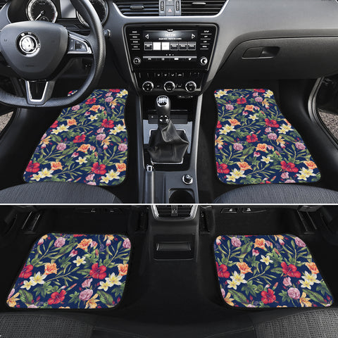 Tropical Hibiscus Red And Plumeria White Hawaii Car Floor Mats - AH - J6 - Alohawaii