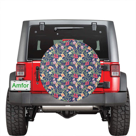Tropical Hibiscus Red And Plumeria White Hawaii Spare Tire Cover - AH - J4 - Alohawaii