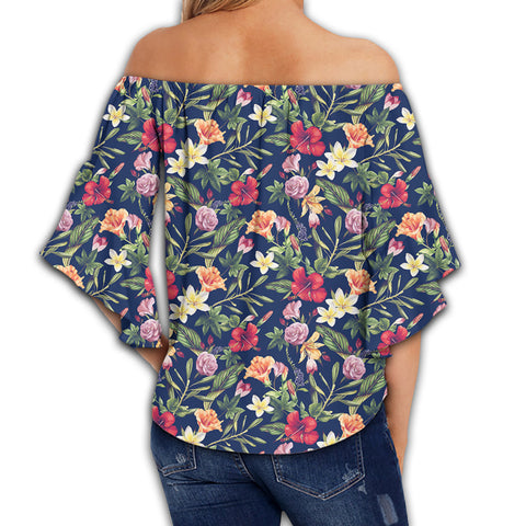 Tropical Hibiscus Red And Plumeria White Women's Off Shoulder Wrap Waist Top - AH - J4