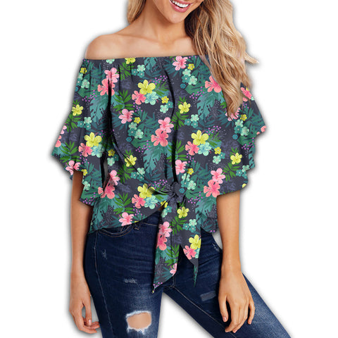 Tropical Hibiscus Women's Off Shoulder Wrap Waist Top - AH - J4