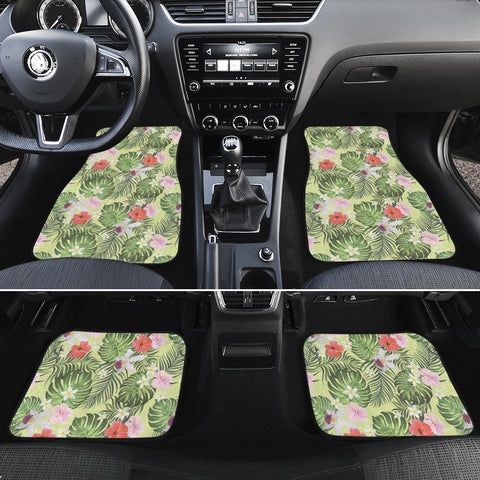 Tropical Hibiscus, Plumeria Green Hawaii Car Floor Mats - AH - J6 - Alohawaii
