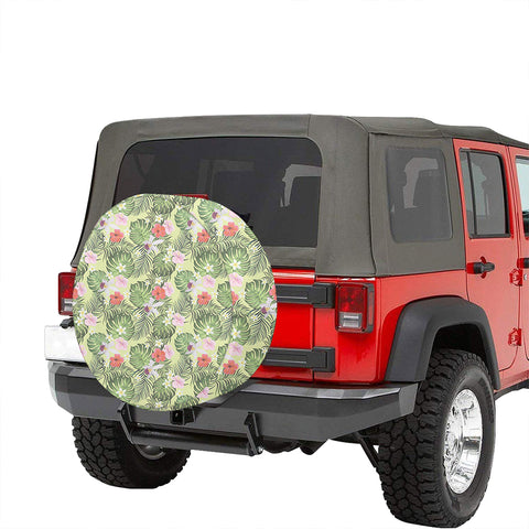 Tropical Hibiscus, Plumeria Green Hawaii Spare Tire Cover - AH - J4 - Alohawaii