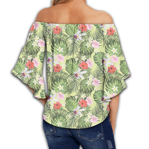 Tropical Hibiscus, Plumeria Green Women's Off Shoulder Wrap Waist Top - AH - J4