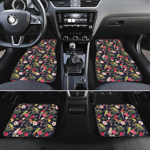 Tropical Hibiscus, Strelitzia Palm Leaves Hawaii Car Floor Mats - AH - J6 - Alohawaii