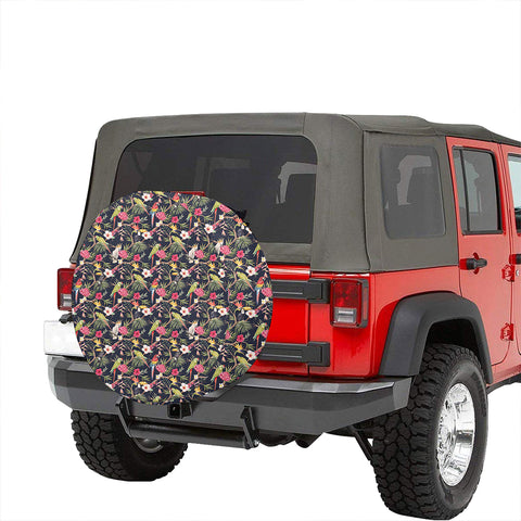 Tropical Hibiscus, Strelitzia Palm Leaves Hawaii Spare Tire Cover - AH - J4 - Alohawaii