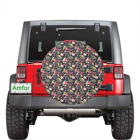 Image of Tropical Hibiscus, Strelitzia Palm Leaves Hawaii Spare Tire Cover - AH - J4 - Alohawaii