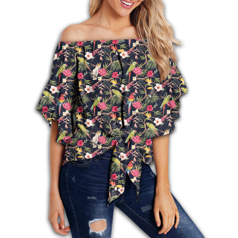 Tropical Hibiscus, Strelitzia Palm Leaves Women's Off Shoulder Wrap Waist Top - AH - J4