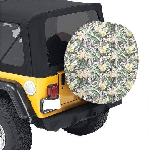 Image of Tropical Jungle Parrots And Flamingos  Hawaii Spare Tire Cover - AH - J4 - Alohawaii