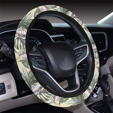 Tropical Jungle Parrots And Flamingos  Hawaii Universal Steering Wheel Cover with Elastic Edge - AH - J6 - Alohawaii