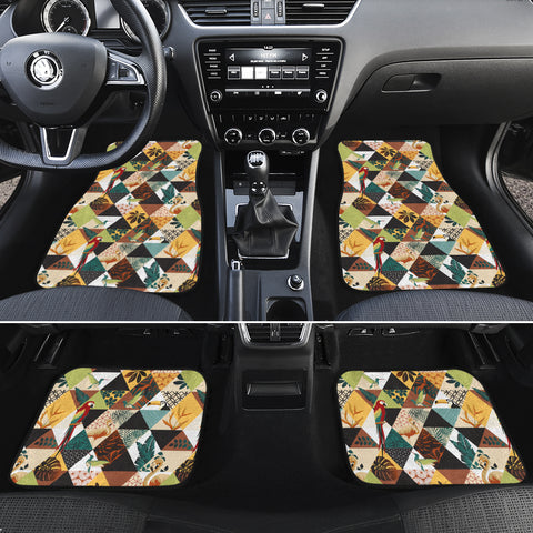 Tropical Jungle Parrots And Flamingos Pattern Hawaii Car Floor Mats - AH - J6 - Alohawaii