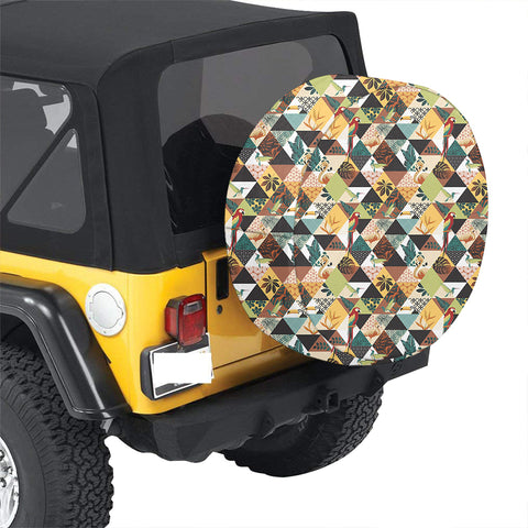 Tropical Jungle Parrots And Flamingos Pattern Hawaii Spare Tire Cover - AH - J4 - Alohawaii