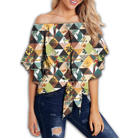 Tropical Jungle Parrots And Flamingos Pattern Women's Off Shoulder Wrap Waist Top - AH - J4