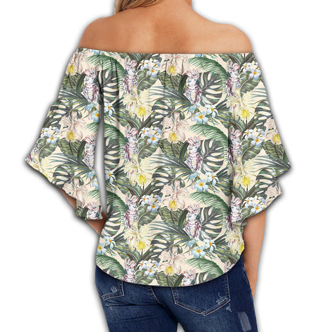 Tropical Jungle Parrots And Flamingos  Women's Off Shoulder Wrap Waist Top - AH - J4