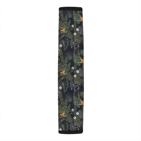 Tropical Leaves And Flowers In The Night Style Hawaii Car Belt Pads - AH - J4 - Alohawaii