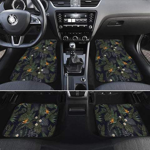 Tropical Leaves And Flowers In The Night Style Hawaii Car Floor Mats - AH - J6 - Alohawaii