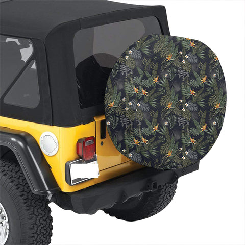 Tropical Leaves And Flowers In The Night Style Hawaii Spare Tire Cover - AH - J4 - Alohawaii