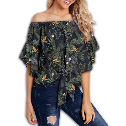 Tropical Leaves And Flowers In The Night Style Women's Off Shoulder Wrap Waist Top - AH - J4
