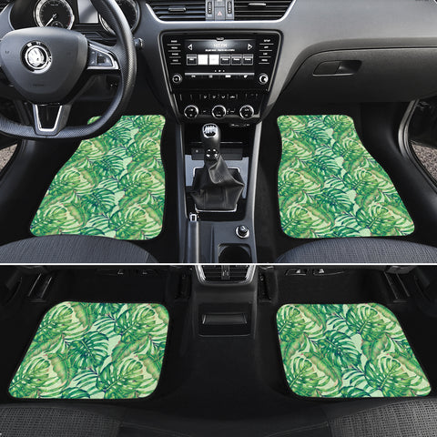 Tropical Leaves Jungle Monstera Leaf Hawaii Car Floor Mats - AH - J6 - Alohawaii