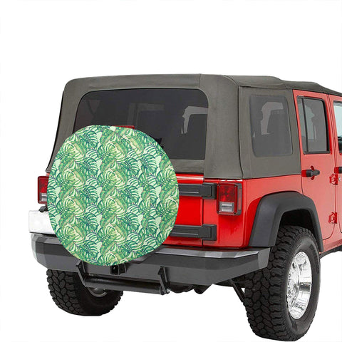 Tropical Leaves Jungle Monstera Leaf Hawaii Spare Tire Cover - AH - J4 - Alohawaii