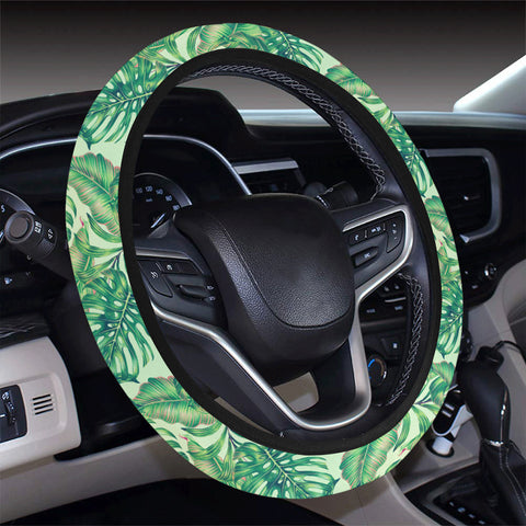 Tropical Leaves Jungle Monstera Leaf Hawaii Universal Steering Wheel Cover with Elastic Edge - AH - J6 - Alohawaii