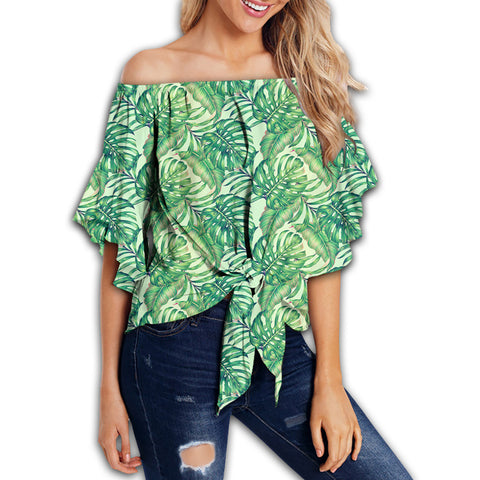 Tropical Leaves Jungle Monstera Leaf Women's Off Shoulder Wrap Waist Top - AH - J4