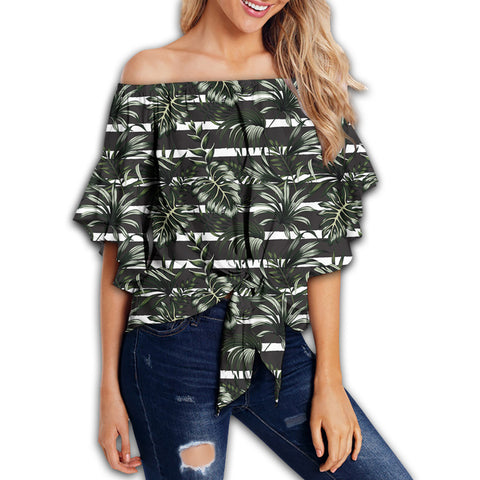 Tropical Line Patttern Women's Off Shoulder Wrap Waist Top - AH - J4