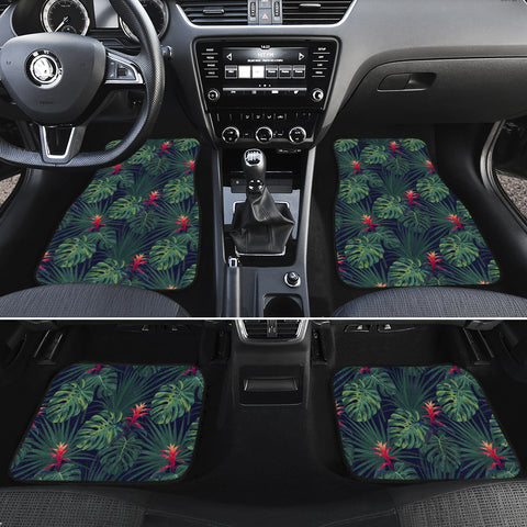 Tropical Monstera Leaf Green Hawaii Car Floor Mats - AH - J6 - Alohawaii