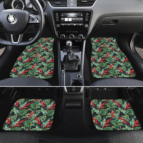 Tropical Monstera Leaf Green Mix Hawaii Car Floor Mats - AH - J6 - Alohawaii
