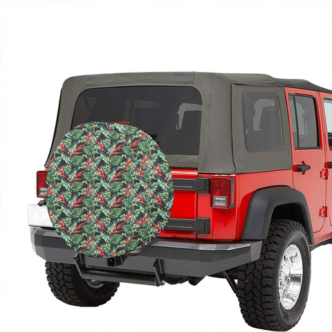 Tropical Monstera Leaf Green Mix Hawaii Spare Tire Cover - AH - J4 - Alohawaii
