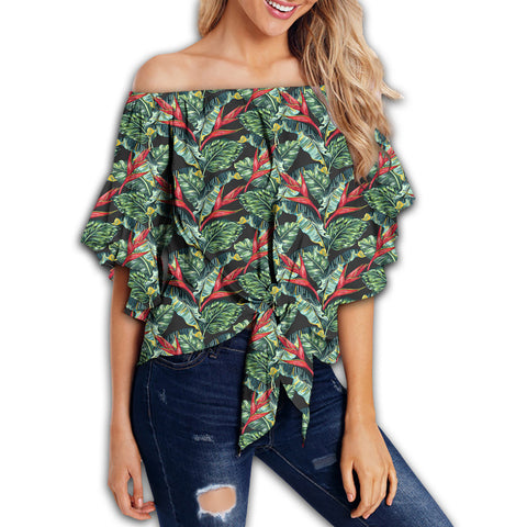 Tropical Monstera Leaf Green Mix Women's Off Shoulder Wrap Waist Top - AH - J4