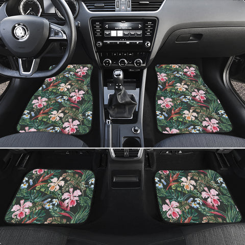 Tropical Monstera Leaf Red Hawaii Car Floor Mats - AH - J6 - Alohawaii