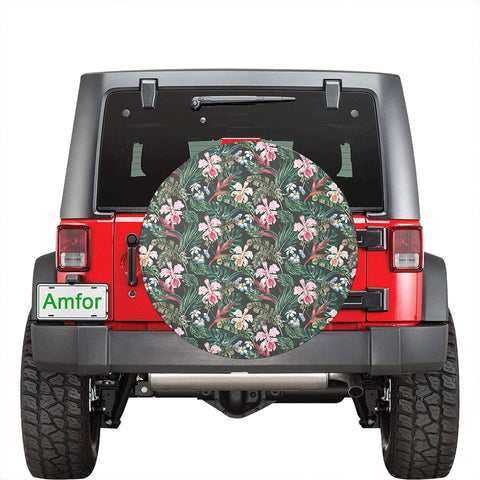 Image of Tropical Monstera Leaf Red Hawaii Spare Tire Cover - AH - J4 - Alohawaii