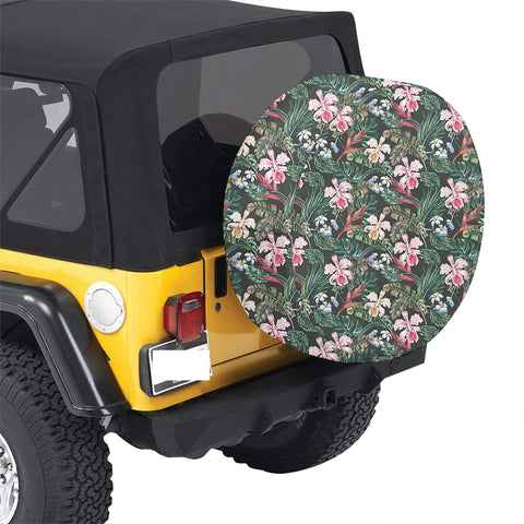 Tropical Monstera Leaf Red Hawaii Spare Tire Cover - AH - J4 - Alohawaii