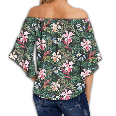 Tropical Monstera Leaf Red Women's Off Shoulder Wrap Waist Top - AH - J4