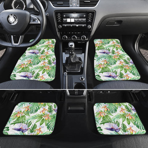 Tropical Orange Orchids Strelitzia Monstera Hawaii Car Floor Mats - AH - J6 - Alohawaii