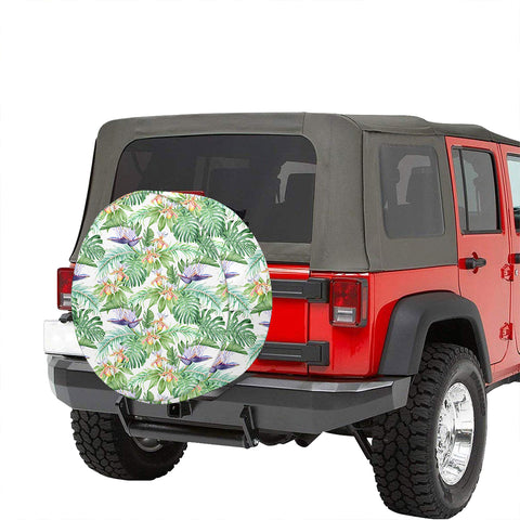 Image of Tropical Orange Orchids Strelitzia Monstera Hawaii Spare Tire Cover - AH - J4 - Alohawaii