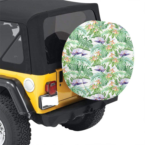 Tropical Orange Orchids Strelitzia Monstera Hawaii Spare Tire Cover - AH - J4 - Alohawaii