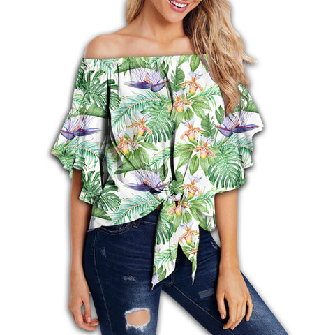 Tropical Orange Orchids Strelitzia Monstera Women's Off Shoulder Wrap Waist Top - AH - J4